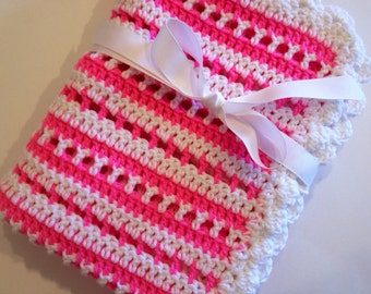Crochet baby blanket pink white striped blanket photo prop