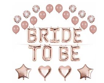Rose Gold Bridal Shower Banner Bride to be Mylar Letters Balloon Kit Bride balloons bachelorette bridal shower balloons Bridal decoration