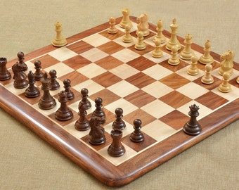 Staunton Chess Set in Shesham Wood Chess Board 17 inches. SKU: D0120