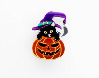 Pumpkin witch cat brooch