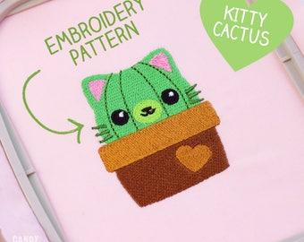 KATZE KAKTUS STICKDATEI - Kawaii Katze Kitty Cat Digital Design Sofortdownload - Patch Applikation Tier Tiere Haustier Pflanze Grün Braun