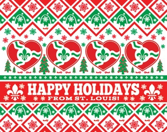 Happy Holidays From St Louis, STL, St Louis, Saint Louis, funny christmas card, unique christmas cards, Christmas Card, XMAS, Xmas Card