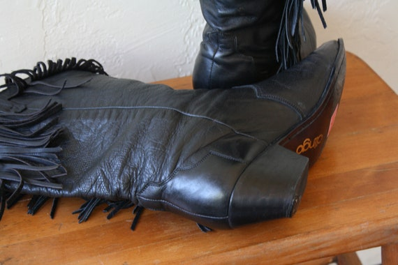 Biker Womens Boots Western 80s Boots Boots Fringe Vintage Fringed Ass Boots Leather Leather Bad Boots Black 1980s Dingo 8 ng1wZ48
