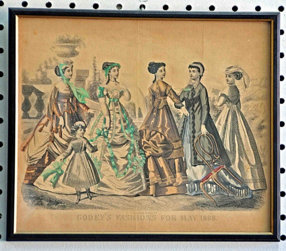 Antique GODEY'S FASHIONS for MAY 1868 Print Kimmel & Forster N Y Framed Excellent Condition