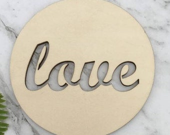 Love Round Rustic Wood Wedding Cake Topper
