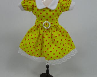 Blythe Outfit Handcrafted polka dots dress basaak doll # 12-48