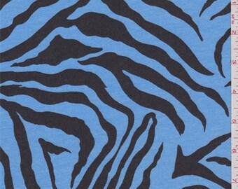 Sky Blue Zebra Jersey Knit, Fabric By The Yard