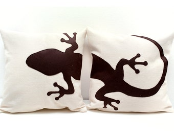 Gecko cushion covers, beige and dark brown, decorative pillows, sofa pillows, valentine's day, funda de cojín, pillow set, cushions