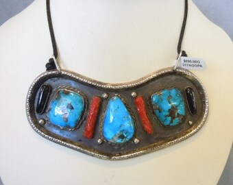 Sterling Turquoise, Coral, Onyx Massive Necklace.  Statement, Vintage, Rare