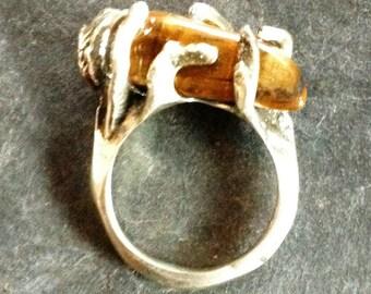 Cast silver ring, Tiger eye