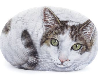 Cat Portrait on Commission Hand Painted on a Sea Stone | Custom Pet Portraits Finely Detailed in Memory of your Pet by Roberto Rizzo