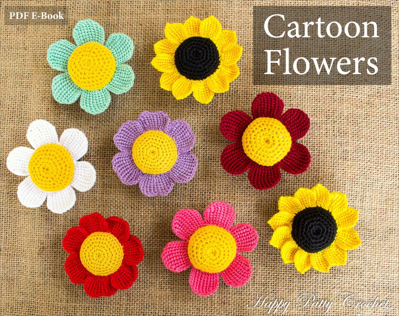 Cartoon flowers patterns crochet daisy sunflower and rose zoom izmirmasajfo Choice Image