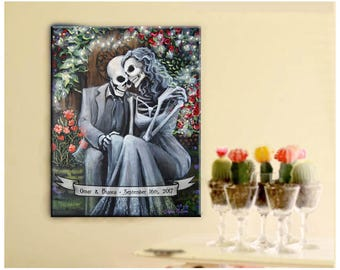 Personalized Day of the Dead Canvas Art Romantic Skeleton Couple Print Wedding Gift Anniversary Love Mexican Folk Art by Bones Nelson