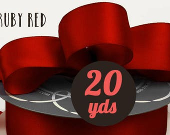"Satin Ruby or Bright Red Ribbon - 7/8"" wide at 20 yards"