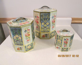 Vintage Set of 3 Canisters, Made in Belgium Floral Canisters, Octogan Canisters, Nesting Canisters,Kitchen Decor, Kitchen Storage