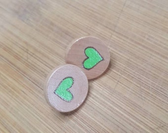Show Your Love for Mental Health Awareness Wood Stud Earrings Wood Studs Wood Stud Earring Circles