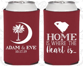 Palmetto Tree, Personalized Gift, Crescent Moon, South Carolina Palmetto, Palmetto Moon, South Carolina Wedding Gift, Beer Coolie (378)