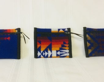 Native American design, set of three coin purses, blue