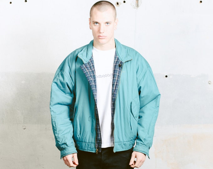 Reversible Bomber Jacket . Vintage 90s Mens Puffa Jacket Padded Bomber Warm Autumn Jacket Thick Jacket Short Coat Mens Winter Wear . size XL