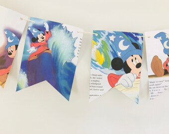 The Sorcerer's Apprentice Story Book Pages Bunting Pennants Nursery Decor Baby Shower Birthday Party Garland Flags