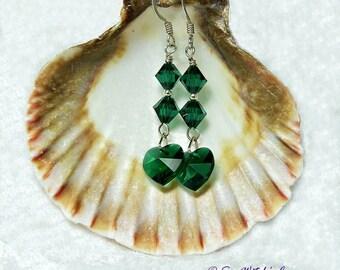 Crystal Earrings. Birthstone Earrings for Women. Swarovski Heart Crystal Jewellery. Birthday Gift. Anniversary Earrings for Wife. A0473