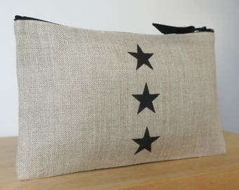 Small linen with 3 Black Star clutch makeup pouch, toiletry bag, women gift, gift for her