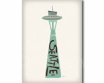 Seattle poster, Washington wall art, Seattle travel art print, Space Needle print, Gift for him