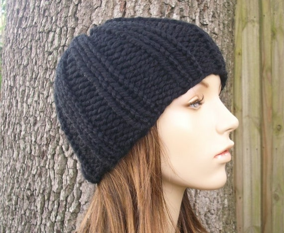 Black Beanie Chunky Knit Hat Mens Hat Womens Hat - Ribbed Boyfriend Beanie - Black Hat Black Knit Hat - Womens Accessories Winter Hat