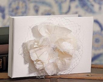 Ivory Floral Guest Book - Beverly Clark La Fleur Vintage Style Flower Lace Wedding Bridal Shower Keepsake Ceremony Reception MW15936