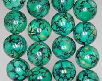 16mm Green Turquoise Gemstone Round 16mm Loose Beads 8 inch Half Strand (90186700-770)