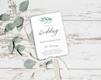 Greenery, Wedding Fan Program Template, Wedding Program Template Instant Download, Printable Wedding Fan Program, Eucalyptus Wedding, 6067
