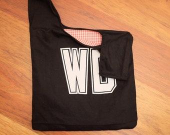 Black netball bib bag reversible - unique netball team gift, gift for mum or bridesmaid - sport bag, book bag, shopping bag – custom