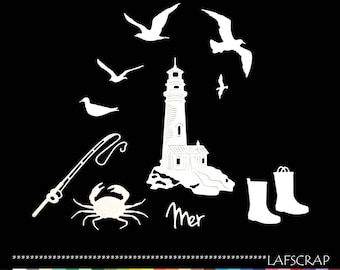 cuts scrapboking Lighthouse Seagull bird Sea Beach House vacation boots child animal crab cane