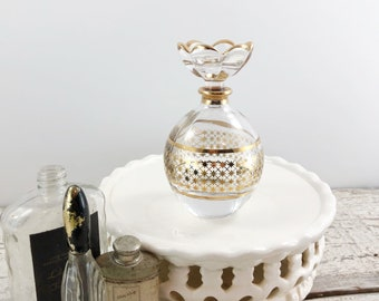 Beautiful Vintage Gold and Crystal Perfume Bottle