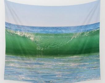 Ocean Wave Tapestry, Nautical Tapestry, Coastal Large Wall Decor, Surf Photo, dorm, Office, Aqua Blue Green, Nature Tapestry, Beach, Sea