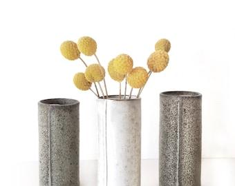 In stock ready to ship white Ceramic vase home docor gift Handmade ceramic bud vase in rustic glaze