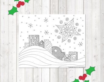 Adult Coloring Page, Star of Bethlehem, Christmas Coloring, Printable Coloring, Instant Printable, Coloring Sheet, Christmas Activities