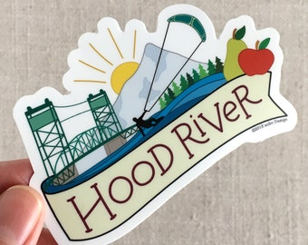 Hood River Oregon vinyle autocollant, Mt Hood, bouteille d'eau Sticker, autocollant pour ordinateur portable, Cool illustrée autocollant, autocollant de l'Oregon, Kite-surf, placement