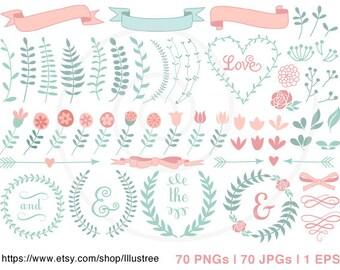 70 flower digital clipart, wedding clip art, hand-drawn laurel wreath, scrapbooking, spring, pastel, commercial use, PNG, EPS, SVG, download