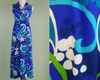 1960s 70s Psychedelic Dress - Long Sleeve Tropical Maxi - Blues -