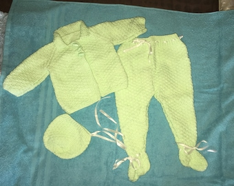hand knitted baby pram suit set