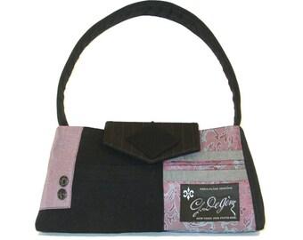 Little Liam #1718- Recycled Suit Coat Handbag - Wool Shoulder Bag - Small Purple Purse - Upcycled handbag - Light Purple Bag - Gift for Her