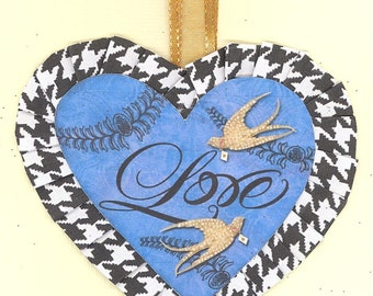 Happy Valentine's Day | Heart Ornament | Wedding gift Anniversary |  Lovebirds | Houndstooth rosette | Vintage style
