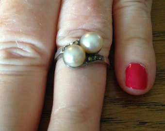 Double Pearl and Marcasite Sterling Silver Ring