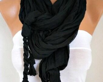 Black Cotton Tassel Scarf,summer Shawl,Birthday Gift,Cowl Oversized Gift Ideas For Her Women Fashion Accessories,Bridal  Scarf,Wedding Shawl