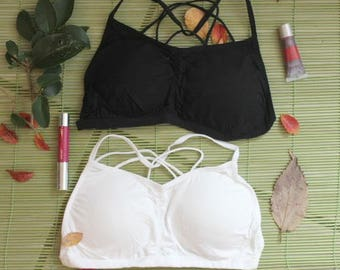 Black bralette, yoga top, strap bralette, spaggetti straps bralette, bralette femme cotton bralette yoga top 5 colours