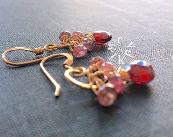 Garnet Earrings, Pink Tourmaline Earrings, Cluster Earrings, Gold Circle Earrings, Gemstone Earrings