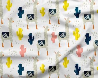 Llama Cactus Fabric by the Yard. Alpaca Southwest Pattern, 100% Organic Interlock Knit cotton, Kona Cotton, Organic Jersey Knit Cotton.