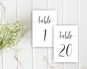 Printable Wedding Table Numbers, 1 to 40 Table Numbers, 4 x 6 Table Numbers, Calligraphy table numbers cards, Wedding seating plan cards