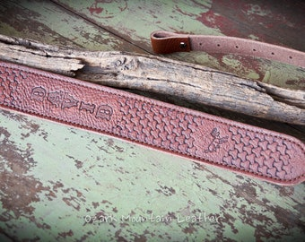 Customized Hand Tooled Leather padded Rifle Sling or Gun Sling with name or initials. Slim style